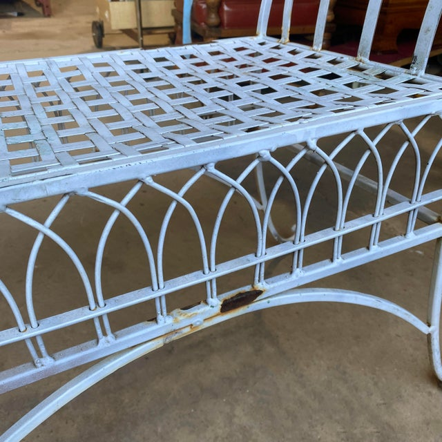 Mid 20th Century Vintage Victorian White Wrought Iron Sculpted Patio Garden Bench For Sale - Image 5 of 12