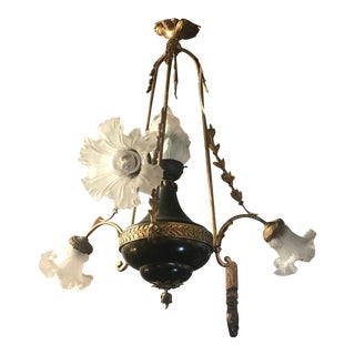 Antique Victorian French Empire Flame Ormolu Chandelier For Sale