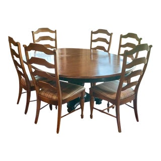 Nichols & Tone Antiguine Pedestal Table Dining Set - 7 Pieces For Sale
