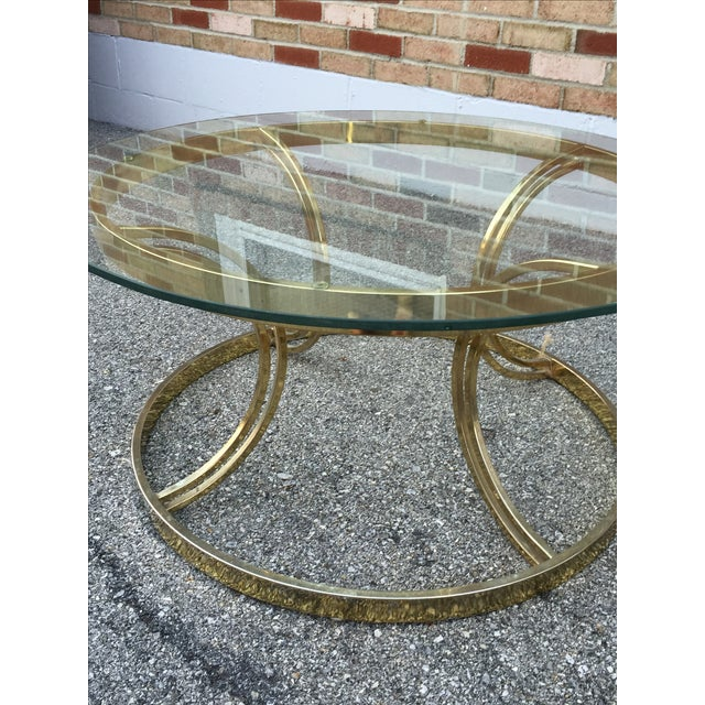 Crescent Base Brass Cocktail Table - Image 4 of 6