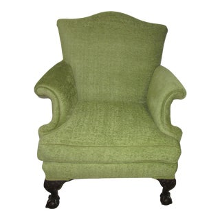 1940's Vintage Widdicomb Green Wool and Velvet Lounge Chair For Sale