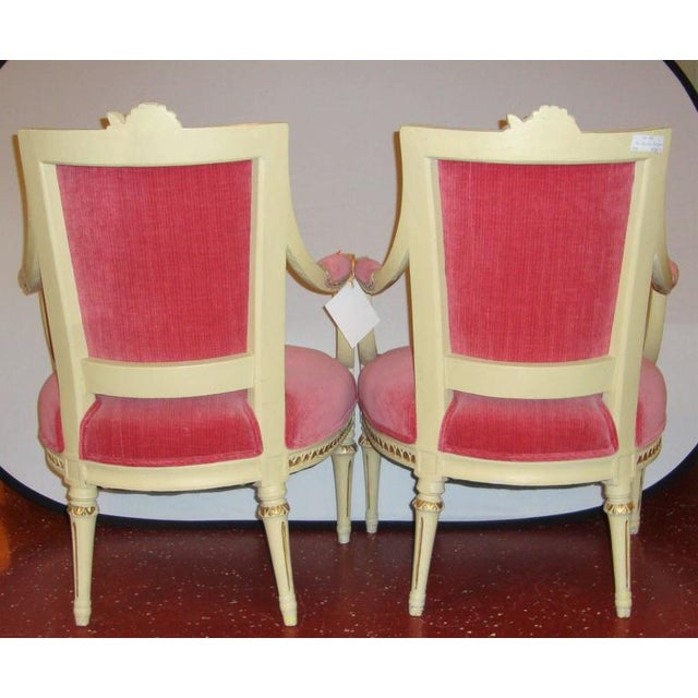 Pair of Carved Fauteuils by Gustavian Side Chairs by Maison Jansen For Sale In New York - Image 6 of 11
