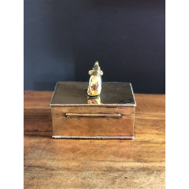 Vintage Elephant Brass Box For Sale - Image 4 of 10