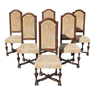 19th Century French Louis XIII Style Dining Chairs - Set of 6 For Sale