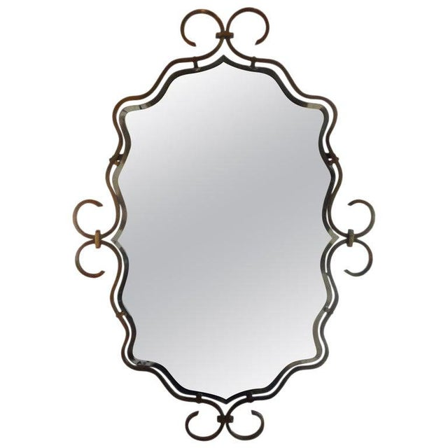 Bronze 1940s Vintage Raymond Subes Style French Art Deco Bronze Mirror For Sale - Image 8 of 8