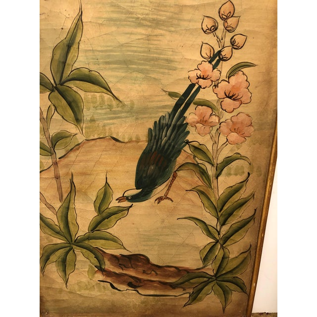 Asian Hand Painted Asian Panels With Birds & Foliage - a Pair For Sale - Image 3 of 10