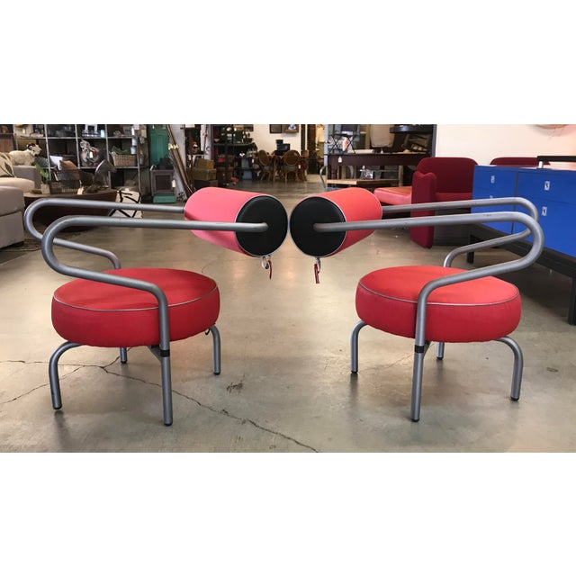 Post Modern Red Danish Armchairs - A Pair For Sale - Image 10 of 10