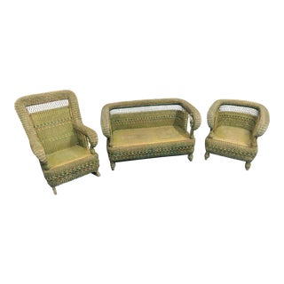 Heywood Wakefield Victorian Wicker Porch Set- 3 Pieces For Sale