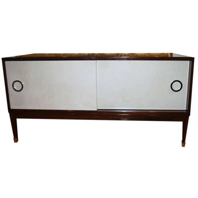 Ryan Parchment Door Rosewood Console For Sale