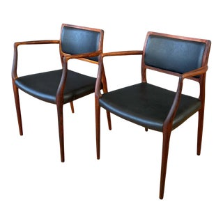 Pair of Niels Otto Møller Model 65 Rosewood Armchairs For Sale