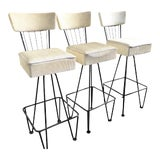 Image of Three Vintage Bar Stools Mid Century Modern Frederick Weinberg White Swivel - Set of 3 For Sale
