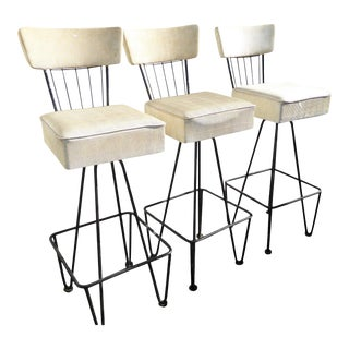 Vintage Mid Century Hree Frederick Weinberg White Swivel Bar Stools- Set of 3 For Sale