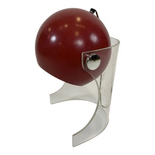 1960s Modern Lucite Table Lamp With Red Metal Ball Shade For Sale