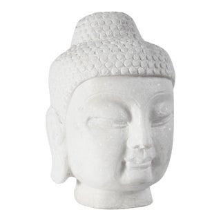 White Marble Buddha Head For Sale