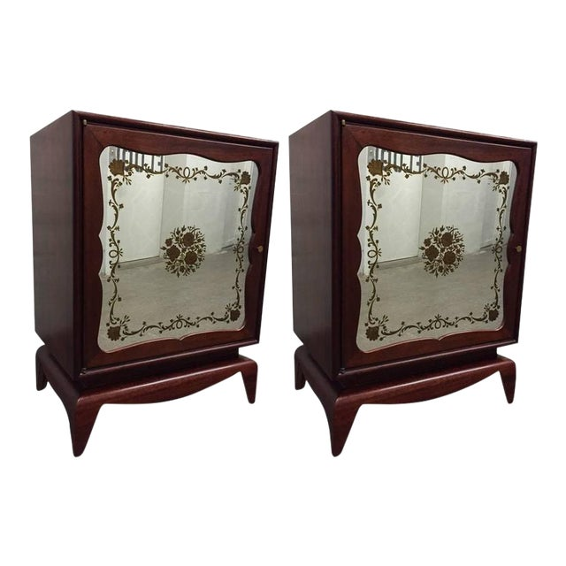 Pair of Mahogany Grosfeld House Cabinets with Etched Mirrored Panels For Sale
