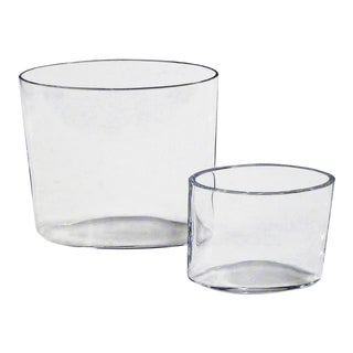 Tapio Wirkkala Ovalis Clear Glass Vases by Iittala, Finland 1960s - Set of 2 For Sale