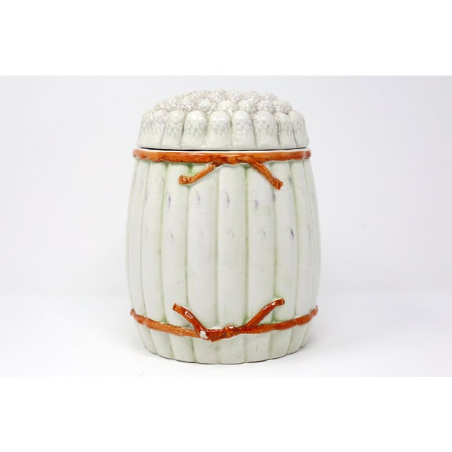 Figurative Vintage Italian White Asparagus Jar or Canister For Sale - Image 3 of 13