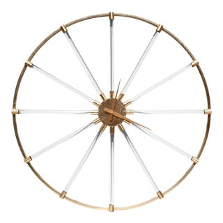 """Monumental 36.5"""" Lucite and Gold Metal Wall Clock For Sale"""