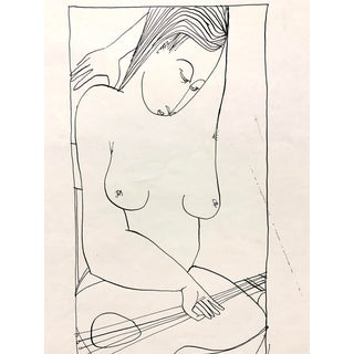 """Donald Stacy """"Musician"""" 1953 Ink Mid Century Female Nude Drawing For Sale"""