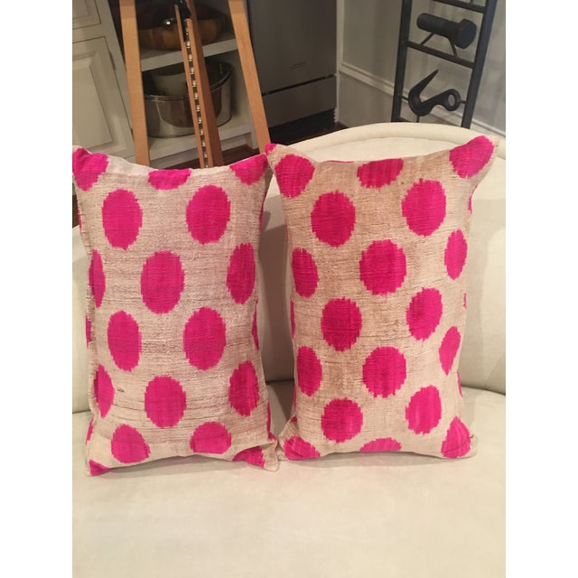 Contemporary Pink Dots Handmade Pillows - A Pair For Sale - Image 3 of 9