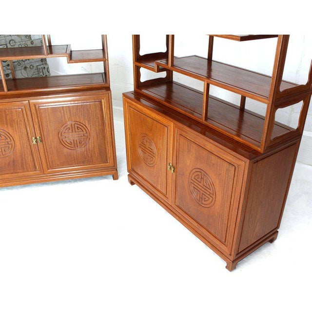 Asian 1990s Asian Solid Teak Étagère/Double Carved Door Cabinets - a Pair For Sale - Image 3 of 14