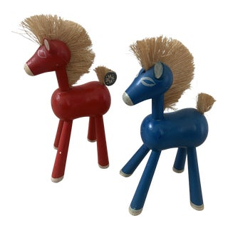20th Century Wooden Norwegian Horse Figurines - a Pair For Sale