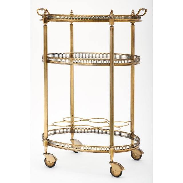 Art Deco Art Deco Period Brass Oval Bar Cart For Sale - Image 3 of 10