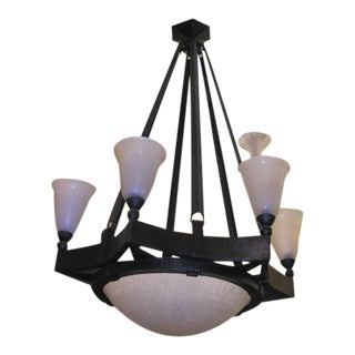 French Art Deco Chandelier by Edgar Brandt and Daum For Sale