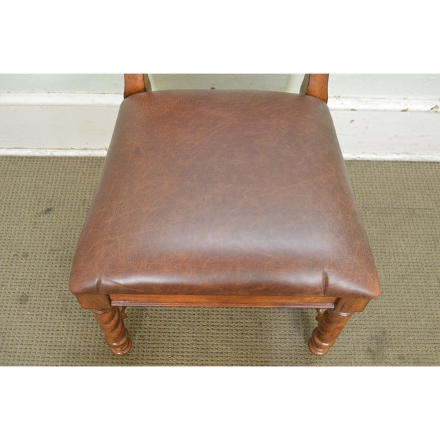 2000s Stanley Barley Twist Brown Leather Dining Chairs - Set of 6 For Sale - Image 5 of 13