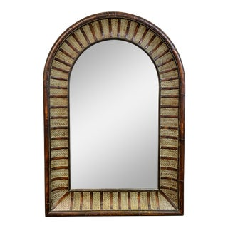 Custom Bamboo + Leaf Framed Mirror For Sale