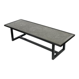 Rare Harvey Probber Etched Metal Top Coffee Table For Sale