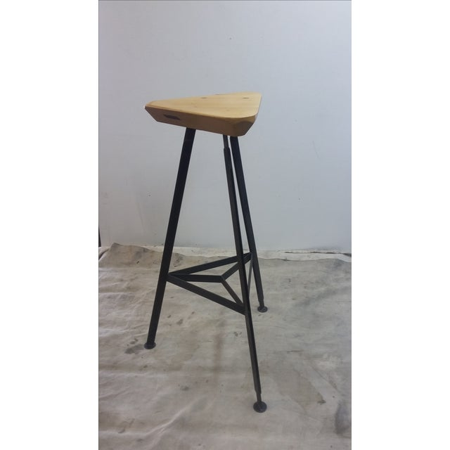 Contemporary Delta Steel and Pine Stool For Sale - Image 3 of 6