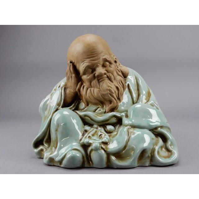 Ceramic Incredible Japanese Kutani Celadon Glazed Fukurokuju Statue For Sale - Image 7 of 13