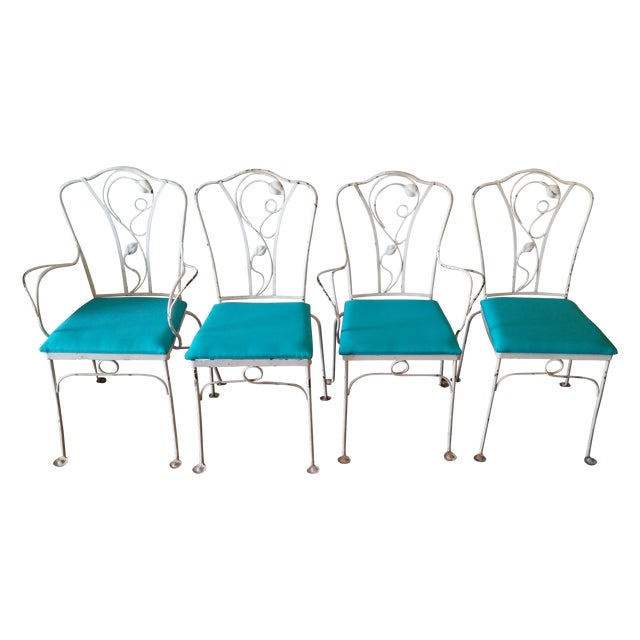 Turquoise Salterini Magnolia Group Iron Chairs - Set of 4 For Sale - Image 8 of 8