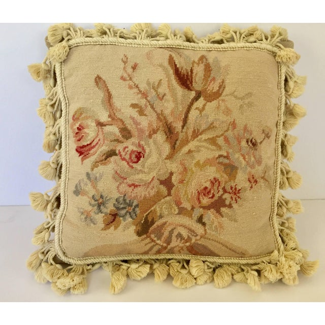 French Country French Provincial Aubusson Style Throw Pillow For Sale - Image 3 of 9