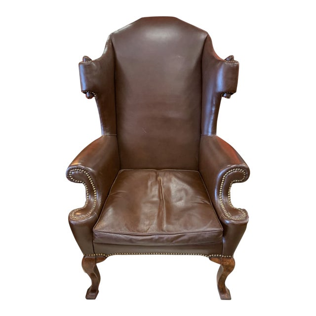 Vintage 18th Century Style Scrolled Wing Chair For Sale