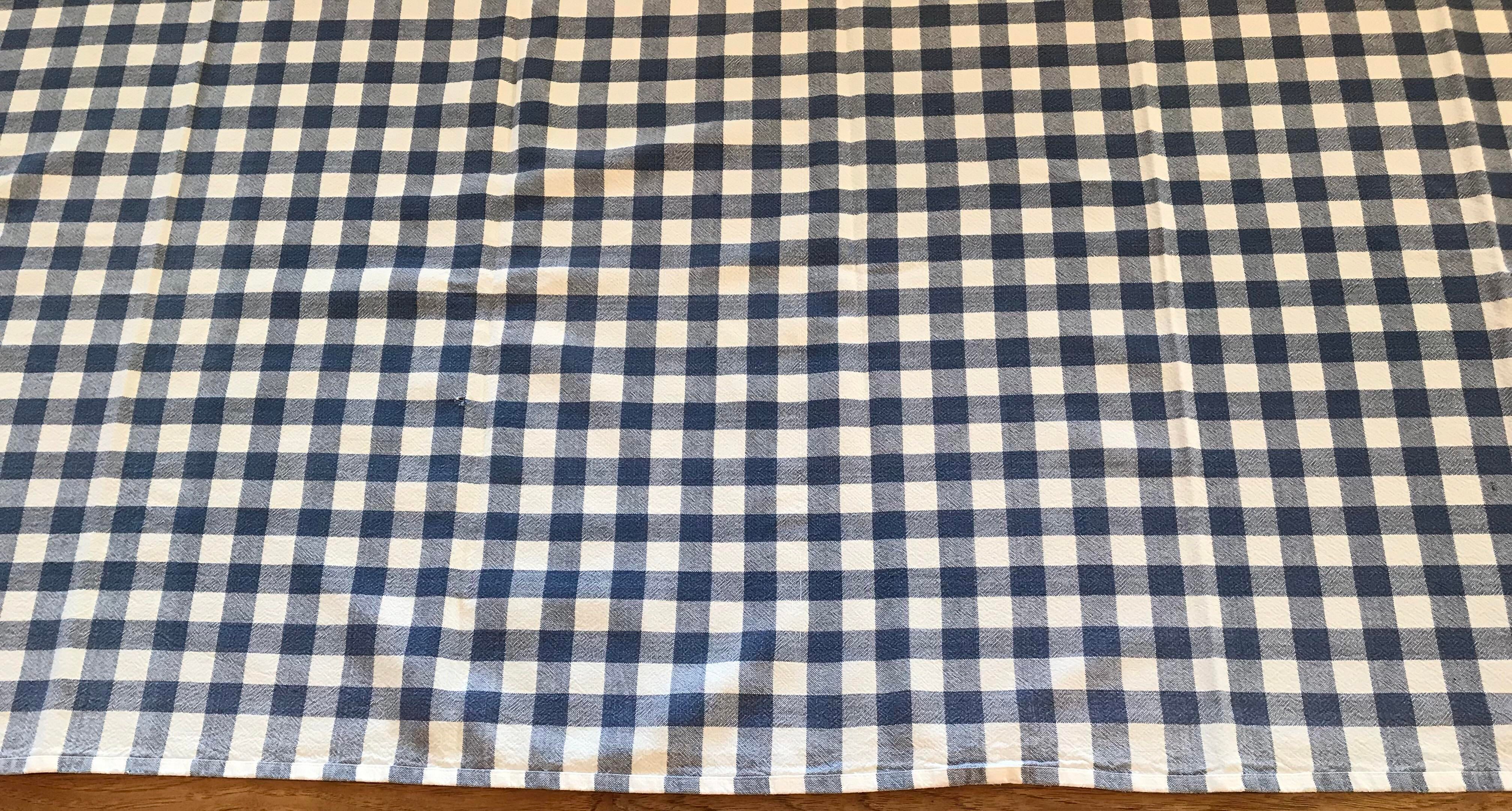 Fabric Vintage Blue And White Checked Tablecloth For Sale   Image 7 Of 8