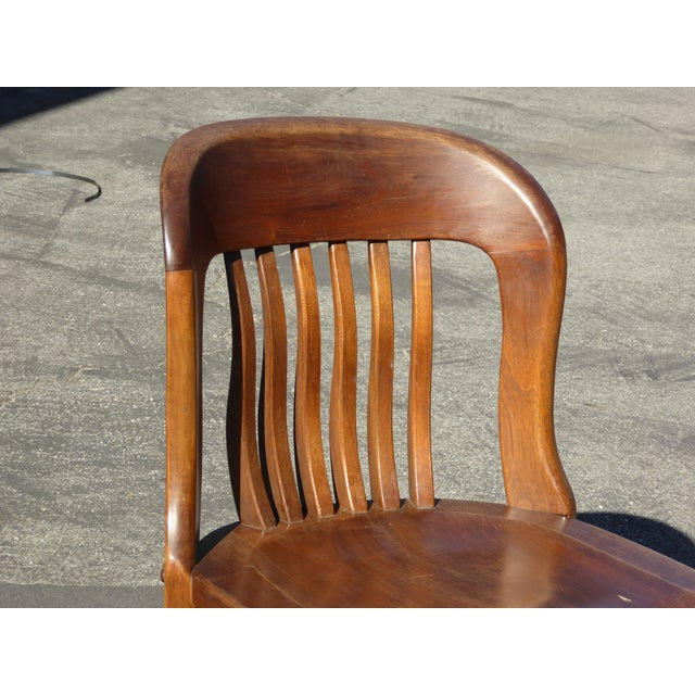 Set of 4 Vintage Mid-Century Brown Solid Wood Farmhouse Chic Library School House Chairs - Image 8 of 11