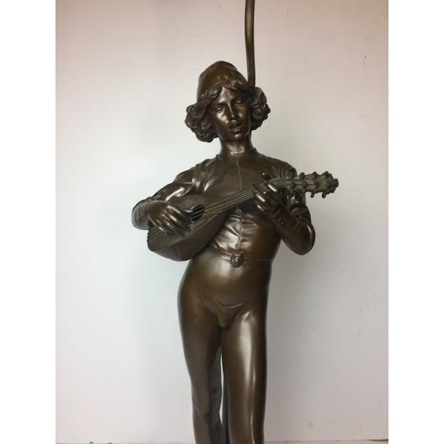 French Barbadian Foundry Bronze Statue of Boy With Mandolin on Bronze and Wooden Base Floor Lamp For Sale - Image 10 of 13