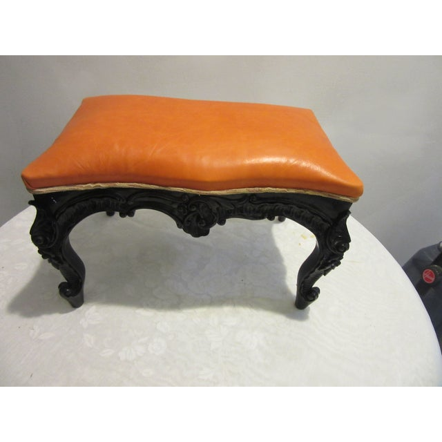 Wood 1970s Vintage Modified Lacquered Mahogany Footstool For Sale - Image 7 of 7