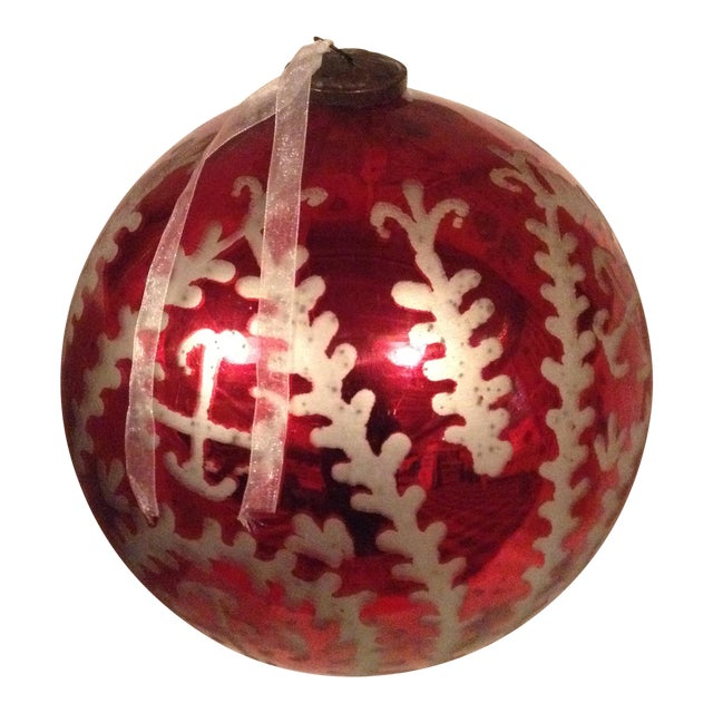 Red & Mercury Silver Oversized Ornament For Sale