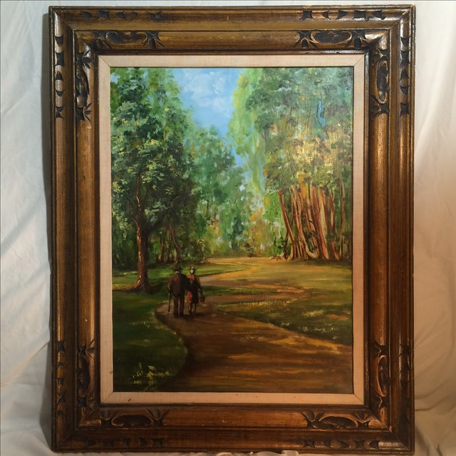 Couple Walking in Park Original Oil Painting - Image 2 of 7