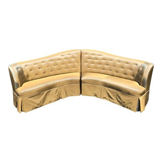 Spectacular Mid Century Hollywood Regency Curved Two Part Sofa For Sale