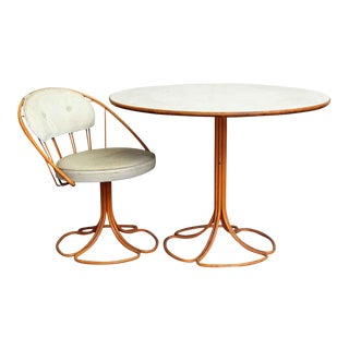 Early 20th C. Vintage Orange & White Metal Patio Table & Chair For Sale