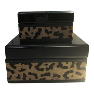 Modern Set of Leopard Print Boxes - a Pair For Sale