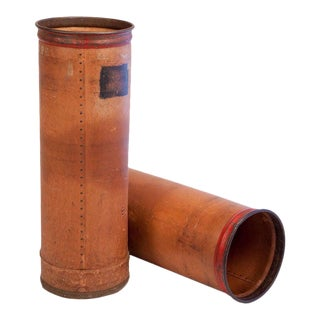 French Vintage Painted Leather and Metal Industrial Containers - A Pair For Sale