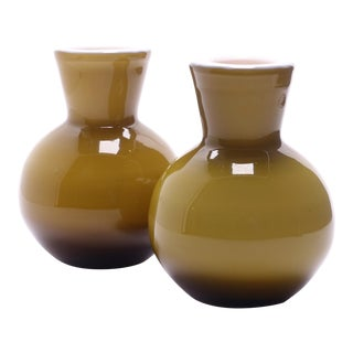 1960s Vintage Ekenas Glasbruk Olive Green Cased Glass Bud Vases — a Pair For Sale