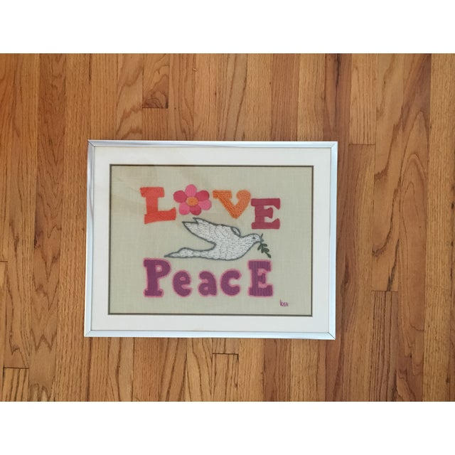 Love & Peace Framed Embroidery - Image 2 of 8