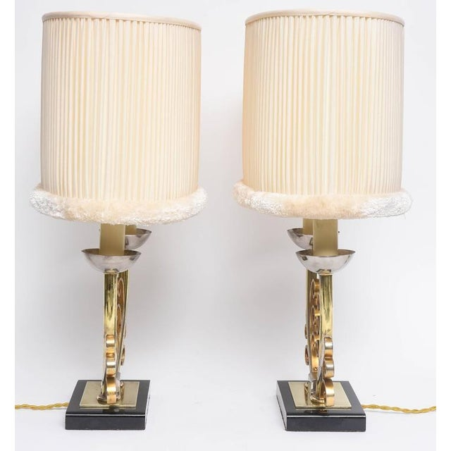 Pair of Art Deco Table Lamps in Brass and Silver with Shades, France, 1920s For Sale - Image 4 of 9
