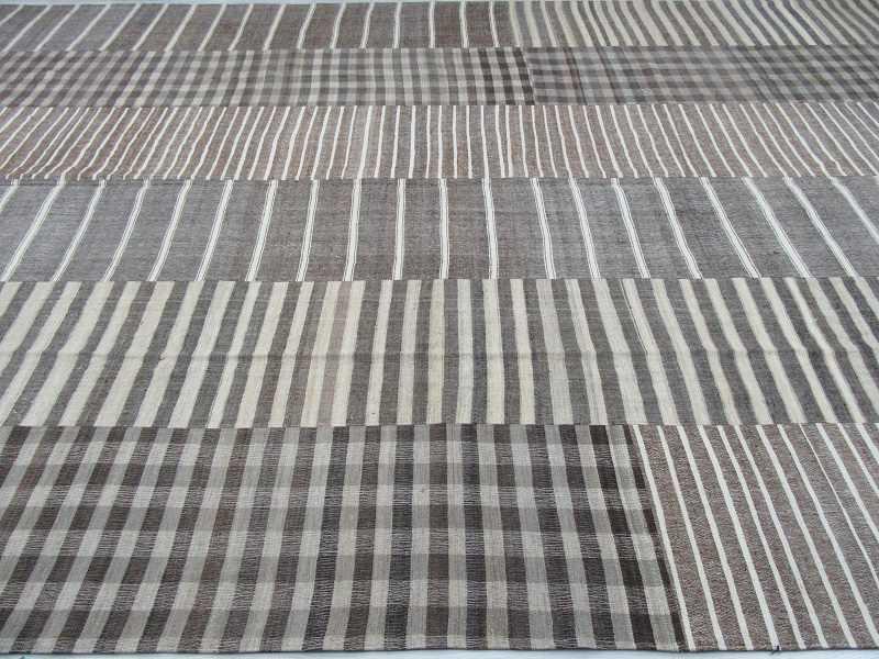 Natural Striped Vintage Oversized Turkish Kilim Rug 10 5